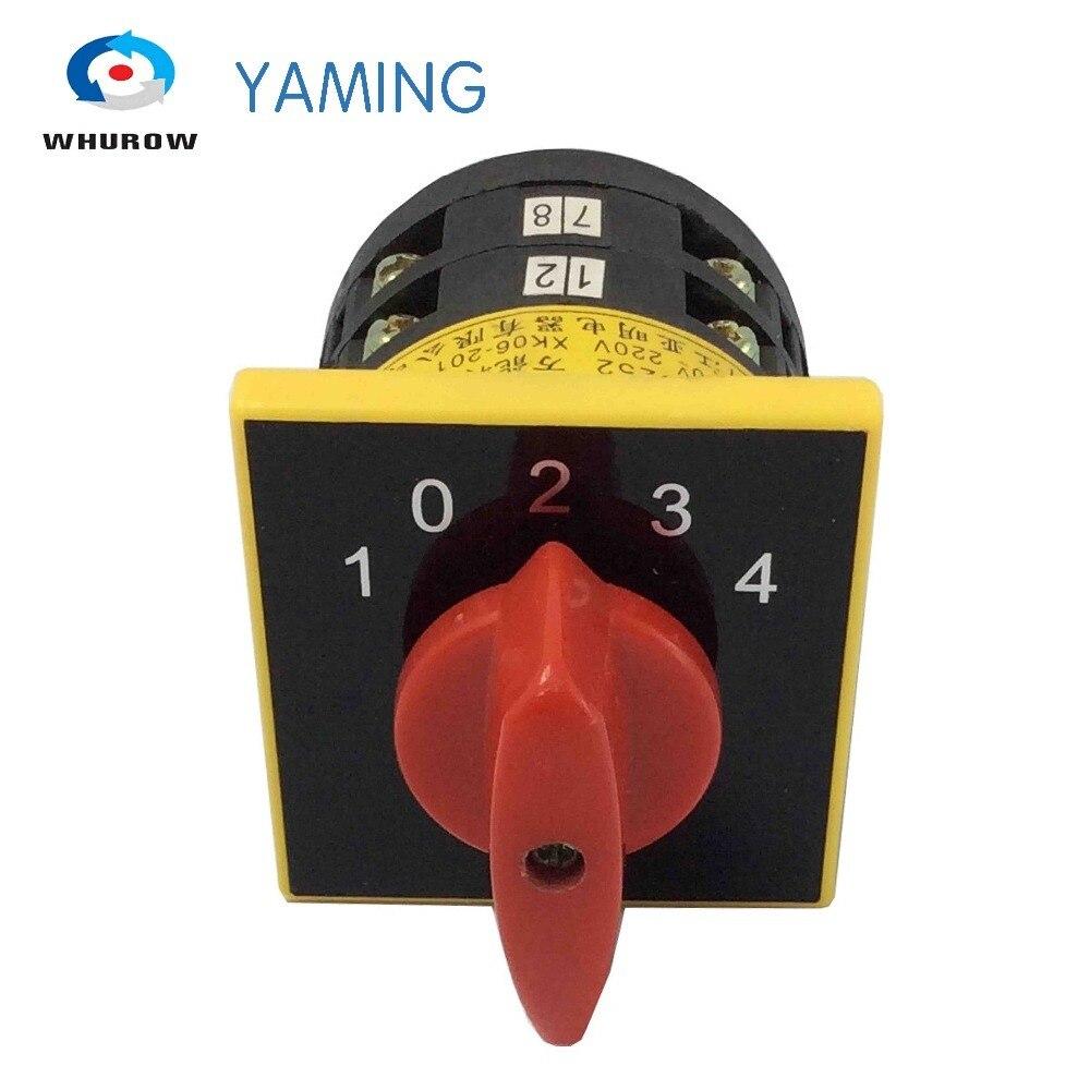 Interruptor de cámara rotativo 5A 380V de Yaming eléctrico 1-0-2-3-4 posición 2 polos interruptor universal principal LW6-2/D252