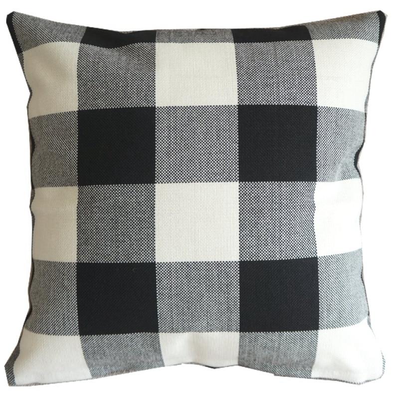"45cm 18"" High quality Pillow Case Cushion Cover Cotton Blend Linen White Black Checked Home Office Sofa Soft Decor PT173"