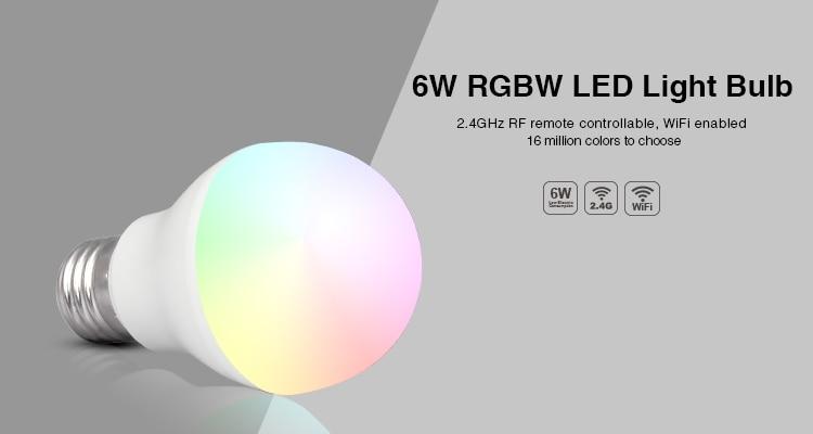 Mi Light RGBWW/VW 6W led bulb 2.4GHZ E27 smart mobile phone WIFI led light lamp AC85V-265V Dimmable Lampada Lights