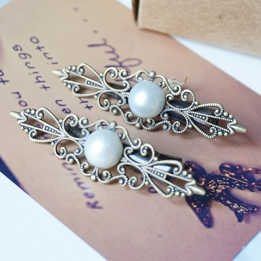 Antique Bronze hairpins Alligator Clips Woman Hair Pins Fashion vintage pearl Hair Clips Hairgrip Hair Jewelry Accessories