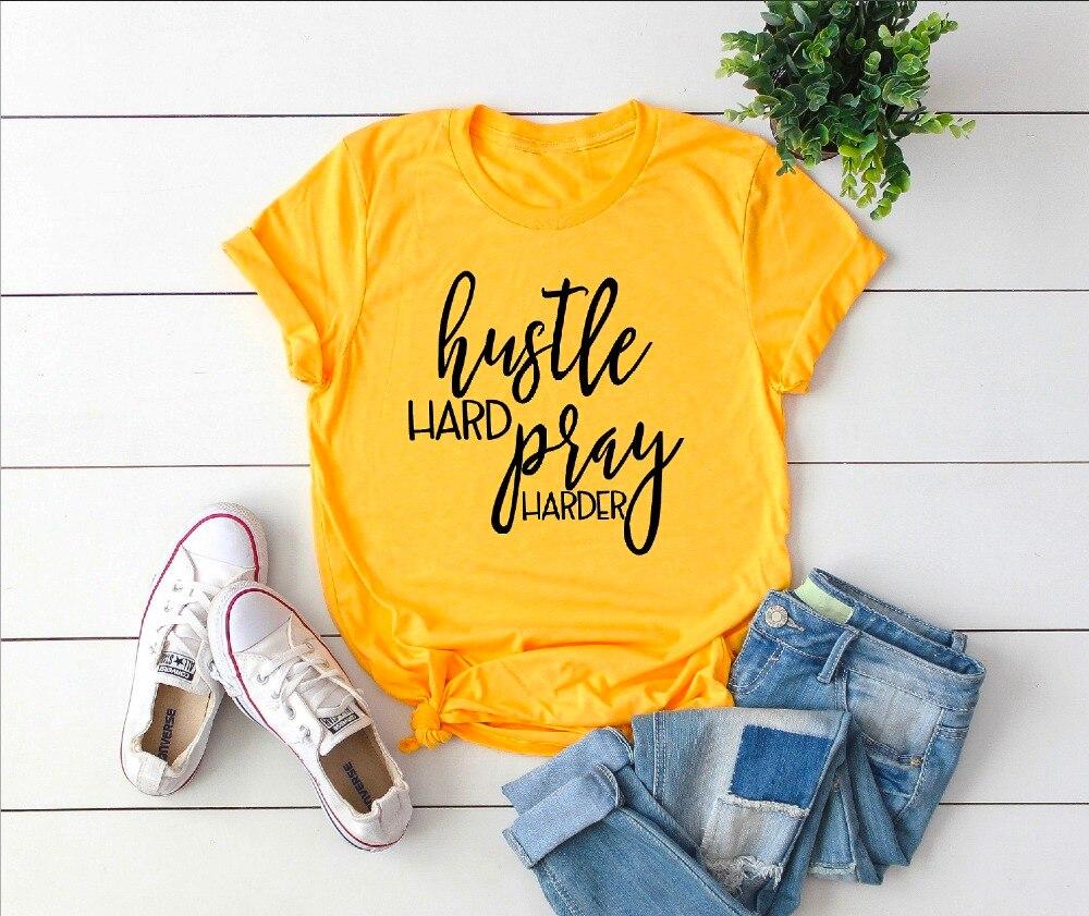 Hustle hard reza más camisa cristiana camiseta gráfico Jesús unisex lema grunge tumblr estética, camisetas de las mujeres camiseta tops