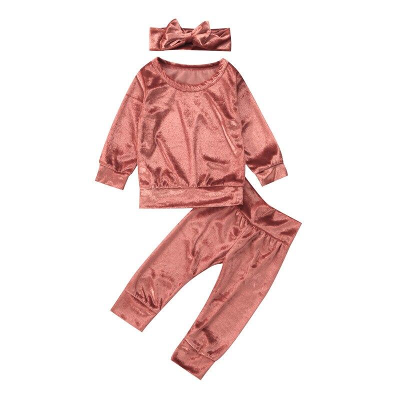 3 piezas 0-24 M recién nacido bebé niñas oro terciopelo manga larga cuello redondo pulóver camisa caliente Tops pantalón diadema conjunto Otoño Invierno