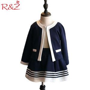 R&Z Children's Set 2019 Spring and Autumn New Girls Knitted Set Navy Blue Coat Skirt Two-piece Children's Dress Uniform