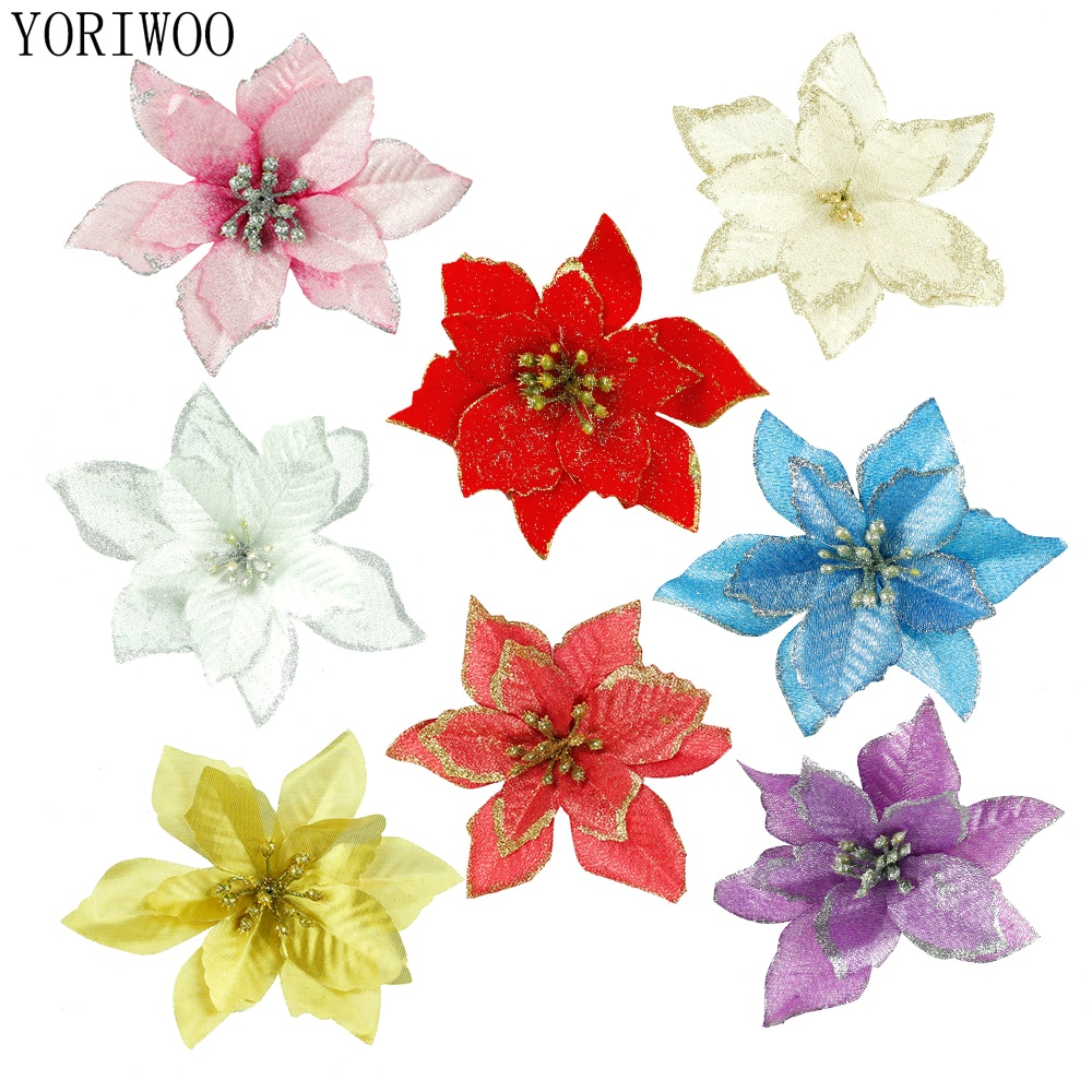 Flores artificiales de Navidad YORIWOO para decoración, flores Poinsettia con purpurina, flores falsas DIY, decoración de hogar, boda, flor, cabeza, navidad