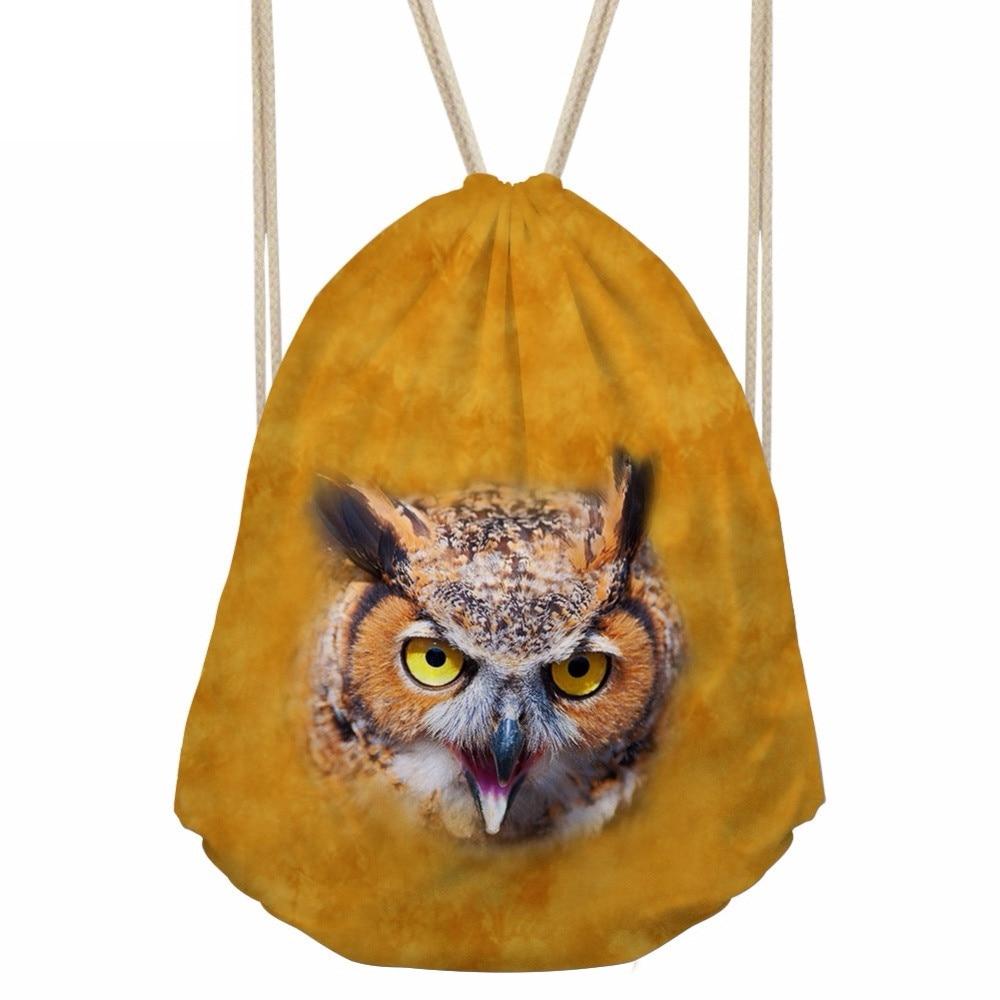 Cool 3D Amimal Owl/Tiger/Lion Head Print Men Drawstrings Bags Fashion Storage Bag for Teenage Boy Daily Punch PocketSumka