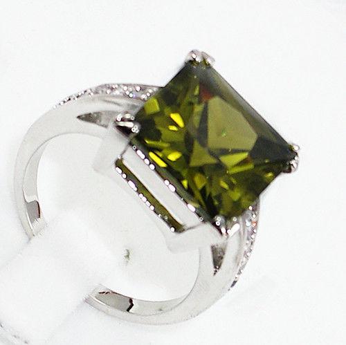 Envío libre>>> Charming! Anillo de Cristal de Circón Verde oliva tamaño 7.8.9