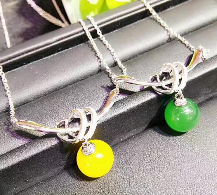 Joyería Fina color Natural amarillo verde Calcedonia hielo collar de cuatro piezas pendiente traje certificado gratis con caja