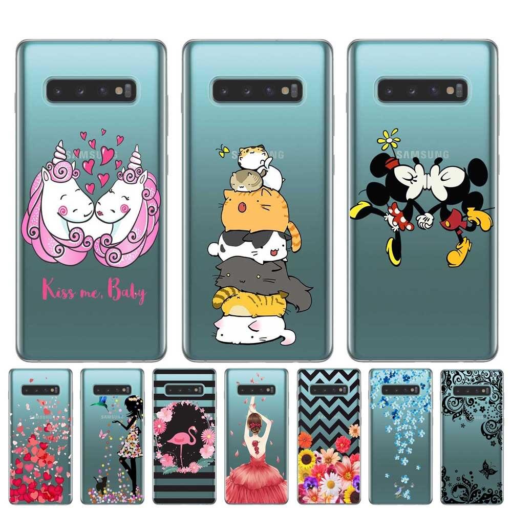 Cubierta de Cactus de flor de la muchacha de la historieta PARA LA Coque Samsung S10 S9 S8 Plus S7 S6 Edge S10E Lite 5G casos TPU suave carcasa de silicona para teléfono móvil