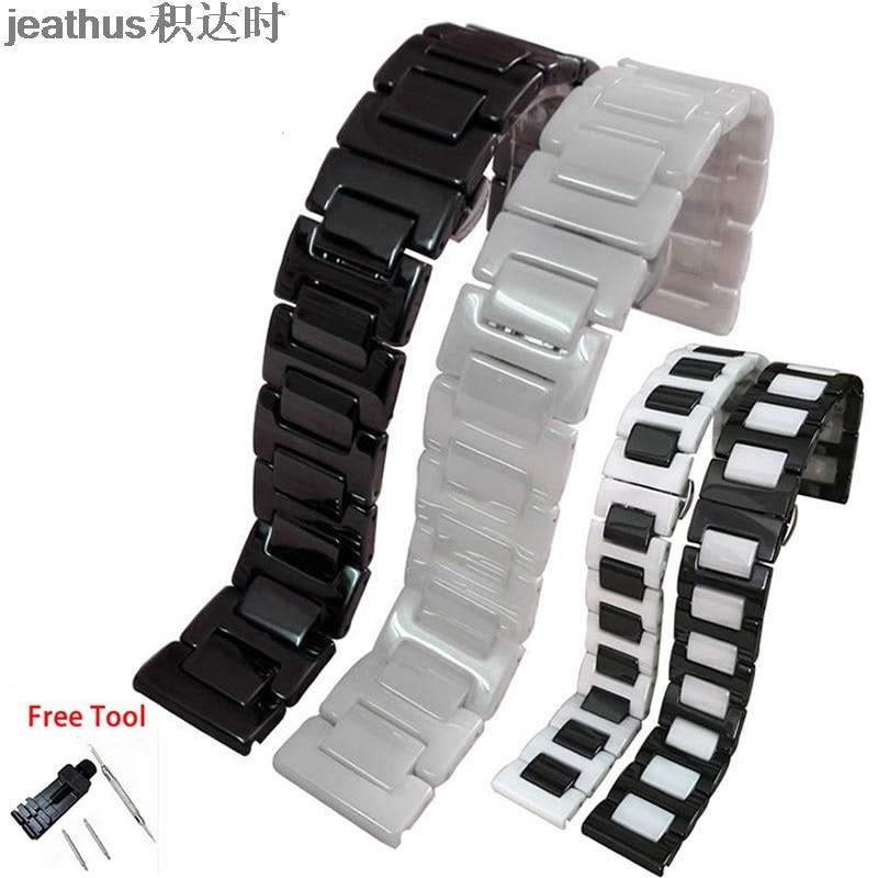 Correa de reloj de cerámica Jeathus para smart watch samsung gear S2 classic S3 frontier moto360 gen2, correa de reloj 20 22mm para hombre