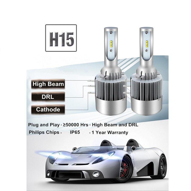 2x H15 LED 80W 16000LM lámpara faro coche bombilla para Ford Kuga Golf 7 Mazda CX 5 Audi BMW CANBUS