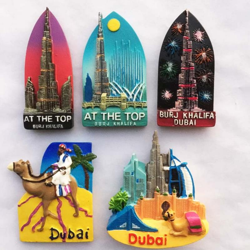 1pc beautiful 3D Dubai Travel Souvenirs Burj Khalifa Tower Landmark Building Fridge Magnets Refrigerator Magnets Home Decor