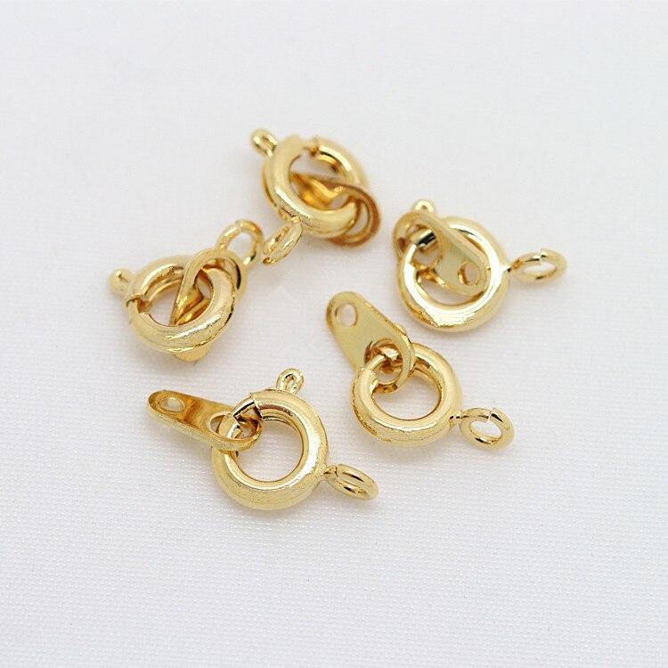 4 pçs 6x9mm 24 k champanhe ouro cor banhado a latão primavera fechos redondos colar fechos acessórios de jóias de alta qualidade