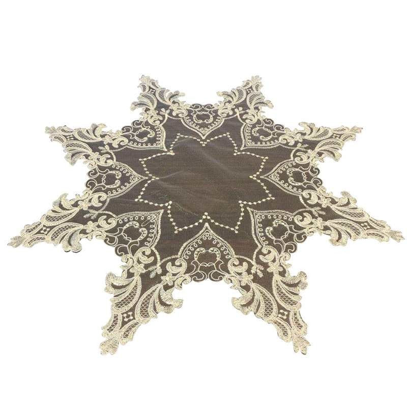 European Luxury Mesh Embroidery Lace Octagonal Tablecloth Coffee Tea Table Cloth Mat Placemat Lamp Pad Furniture Decoration