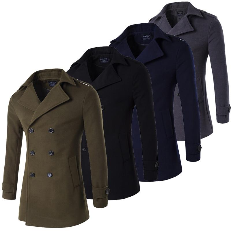 معطف رجالي عسكري مزدوج الصدر ، معطف طويل عسكري ، أخضر ، رمادي ، كحلي ، أسود ، مقاس كبير 4XL