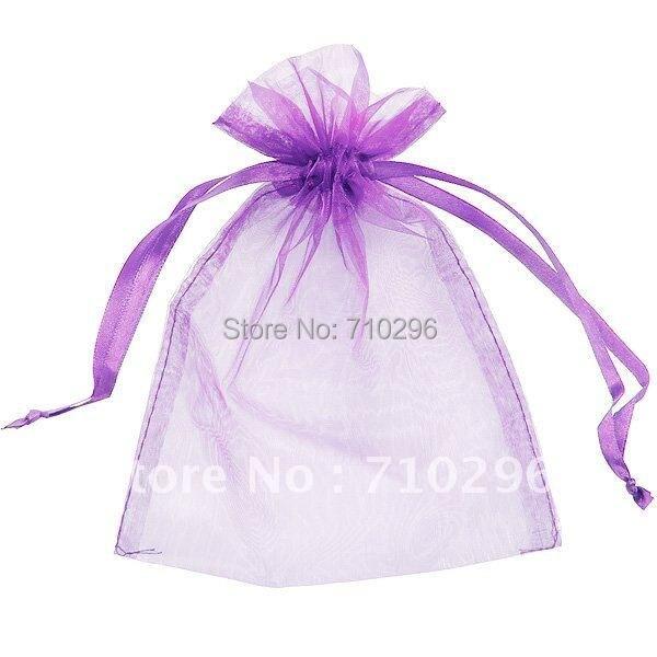 7*9 mm Purple Organza Bag display gift bags silk pouches wedding bag