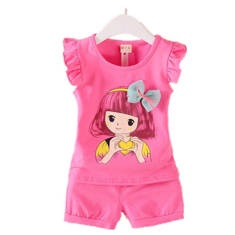 Verão 2 pçs roupas da menina do bebê da criança dos miúdos do bebê meninas roupas de arco camisetas + calças curtas criança infantil conjunto