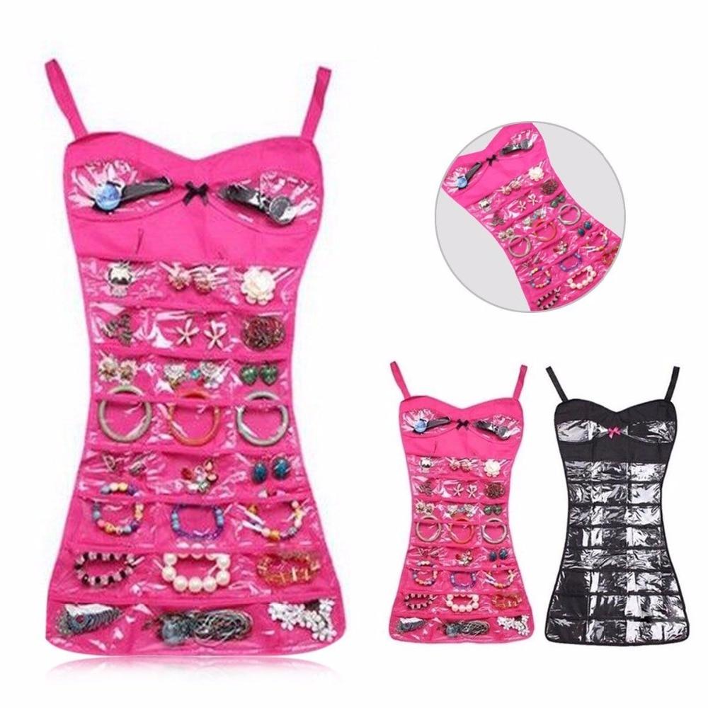 30 bolsillos doble lateral vestido joyería almacenamiento bolsa organizador armario colgante collar pendiente anillo pulsera soporte