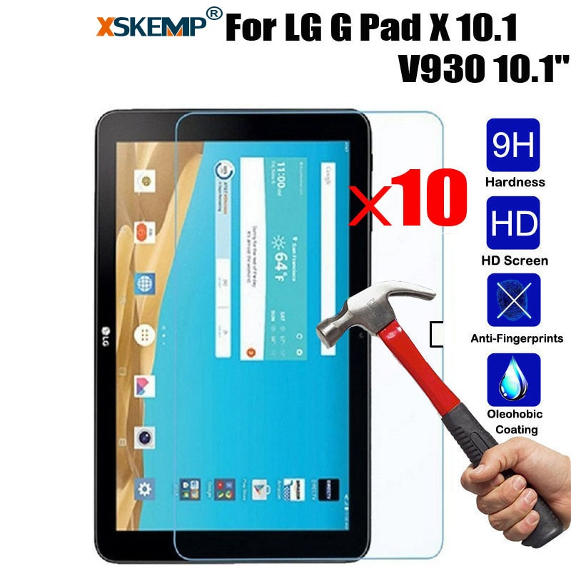XSKEMP 10 unids/lote 9H protección para LG G PAD X 10,1 V930 Ultra claro Tablet protector de pantalla de vidrio templado película protectora