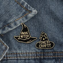 2pcs/set Creative BASIC WITCH SHE'S CRAFTY Black Hat Brooch Cartoon Enamel Pin Women Denim Jackets C