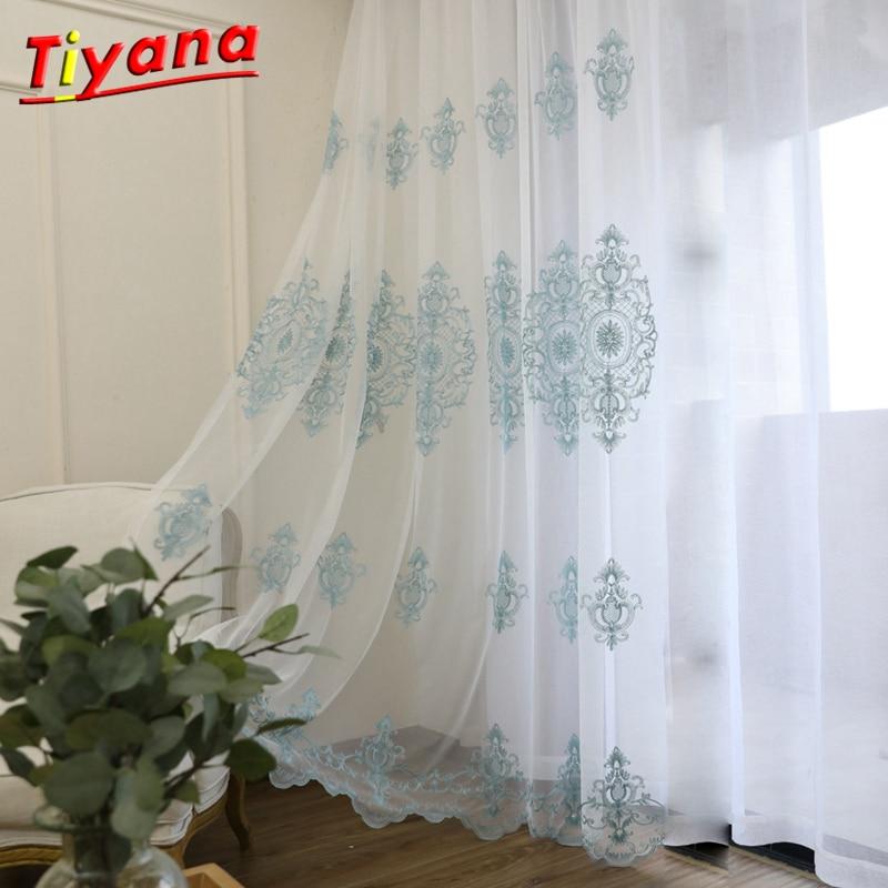 Hortelã floral tule janela cortina para sala de estar quarto cortina porta para cozinha sheer cortinas haste bolso X-WP079 * 30