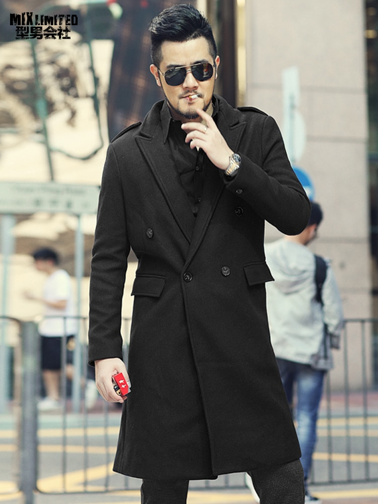 Nuevo abrigo de lana de edición larga verde militar de otoño e invierno para hombre, abrigo informal ajustado de estilo europeo a la moda para hombres F301
