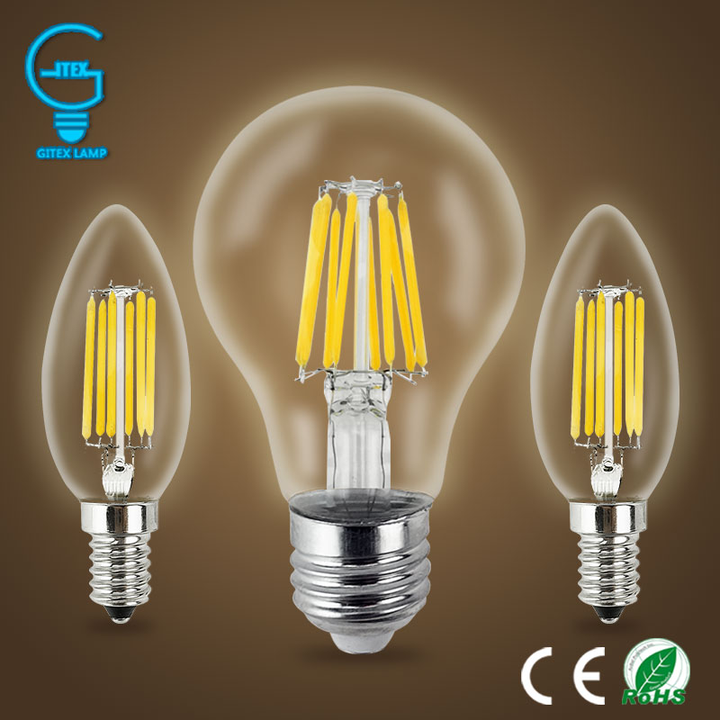 Gitex Retro LED Filament BulbE27 Led Bulb 2W 4W 6W 8W 220V 240V LED Edison Bulb E14 Vintage Glass Candle Lights Lighting