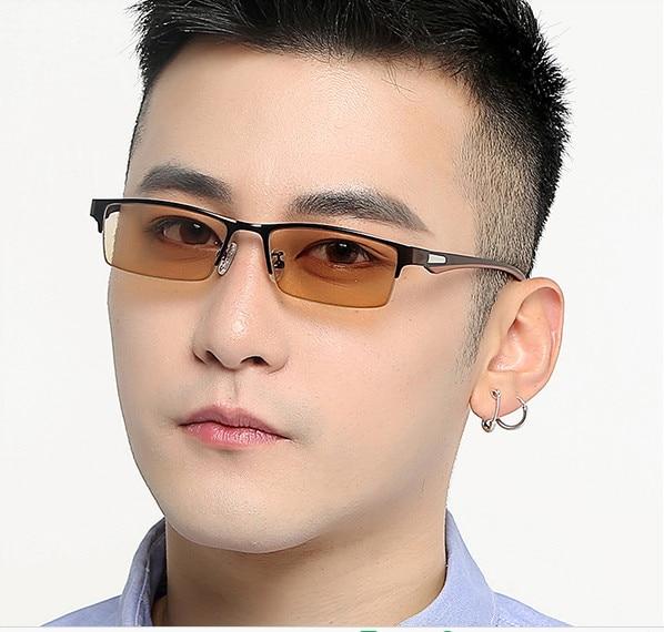 Classic men myopia glasses photochromic glasses half-rim business eyeGlasses Sensitive Lenses Transition Lenses -0.50 to -8.00