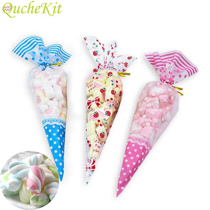 2 Sizes 50pcs Colorful Triangular Plastic Bag Cone-Shaped Treat Popcorn Bags DIY Wedding Birthday Plastic Cellophane Candy Bags