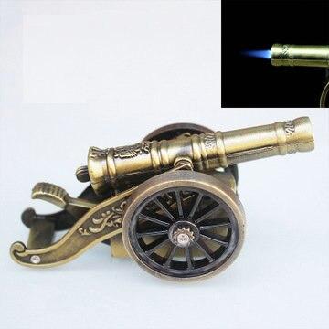 Encendedor a prueba de viento modelo de cañón antiguo pequeño creativo de escritorio, encendedor inflable de ciclo, colección de regalo