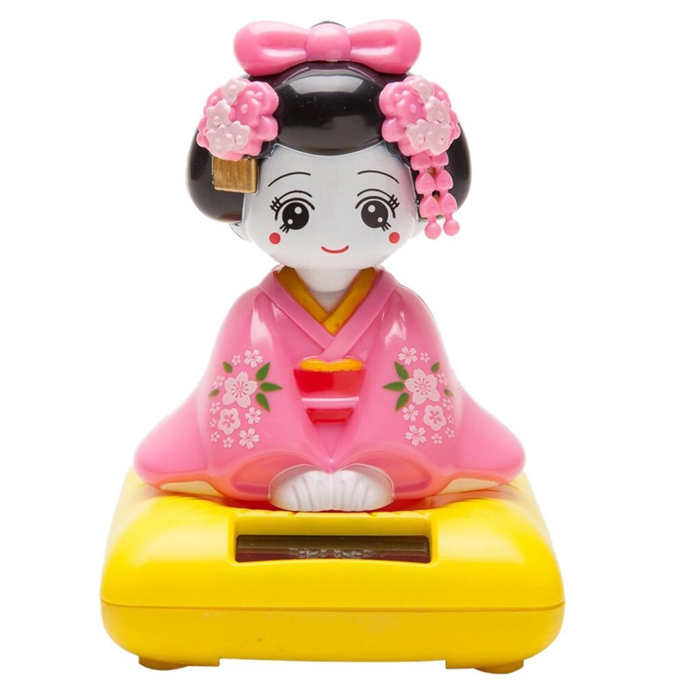Figura de juguete Cabezón con energía Solar, Kimono japonés Maiko Geisha, muñecas de decoración de coche para el hogar
