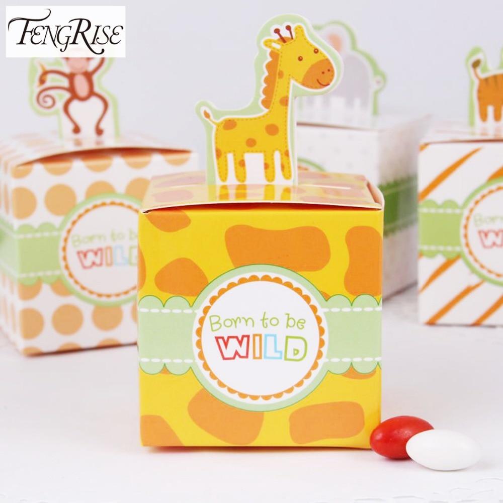 FENGRISE de 20 piezas Animal de circo caja de papel para dulces decoraciones para fiesta de cumpleaños bebé ducha regalos de regalo de la bolsa de tortitas de chocolate caja