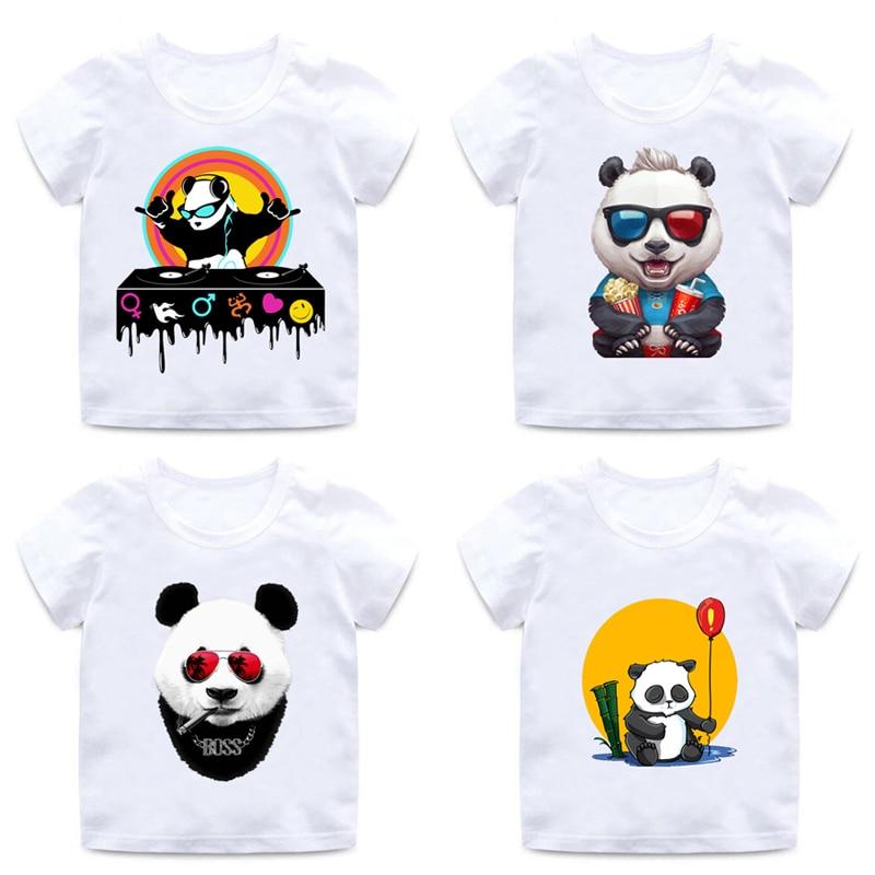 Los niños 3D Panda lindo diseño camiseta niños y niñas DJ Hip-Hop camisa de Panda niños niñas suave de algodón de cuello redondo comodidad camisa