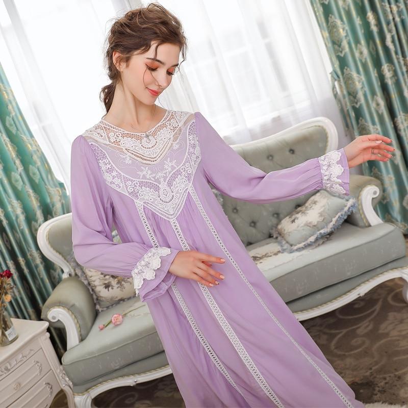 Nightgowns Sleepshirts 2019 Lady Dresses Princess Lace Sleepwear Elegant Nightgown Solid Home Dress