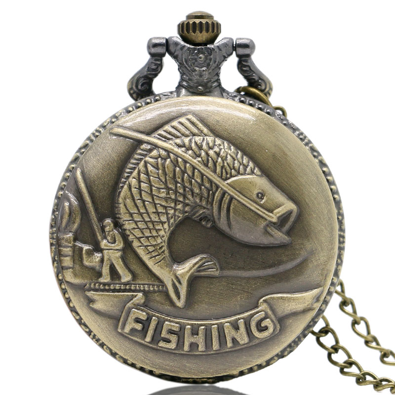 Moda bronce relojes bolsillo Vintage collar cadena colgante pesca con caña estilo antiguo cuarzo Steampunk hombres mujeres regalo