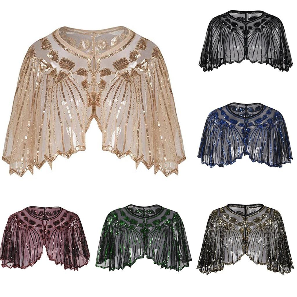 Женская шаль 1920 s, украшенная бисером и пайетками, нарядная накидка, болеро, накидка для европейского и американского свадебного платья, шаль на сцене