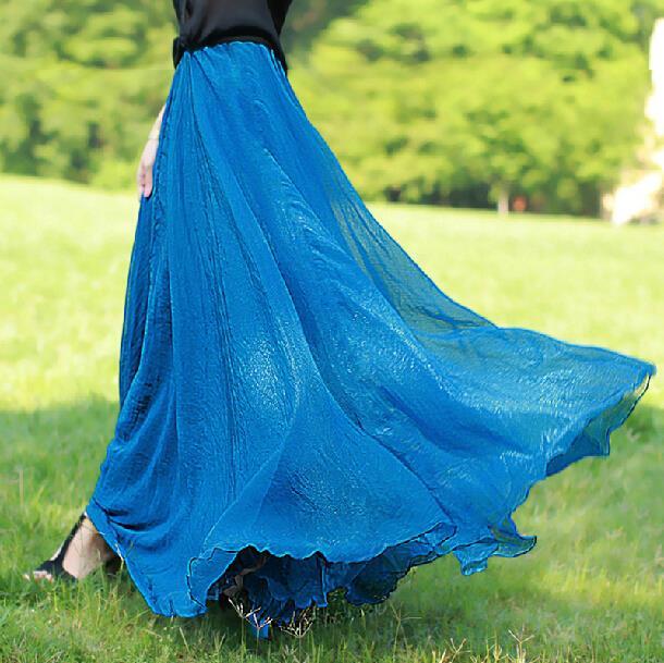 Falda para la playa Bohemia Boho plisada de verano Falda larga de mujer de gasa falda de mujer Falda larga de piso faldas completas Sexy falda para la playa para mujeres