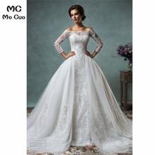 2019 Dubai Vintage Lace Wedding Dress with Detachable 1.5 M Train Long Sleeve Amelia Sposa Sequins Ball wedding Dresses