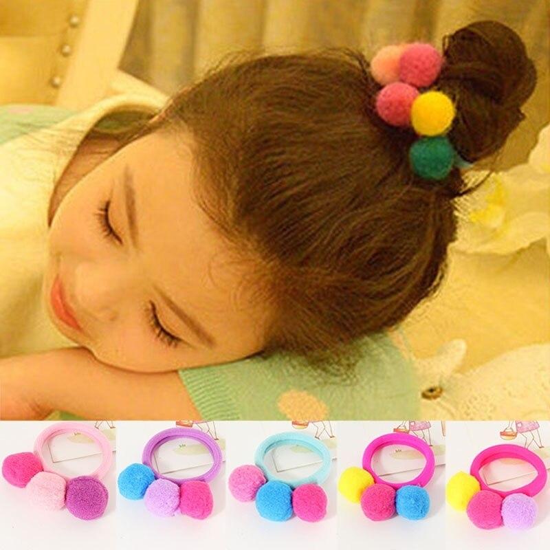 Bola para el pelo lazo para niña bandas para la cabeza para bebés 1 pieza cuerda elástica accesorios para dulces 3 bolas de Color