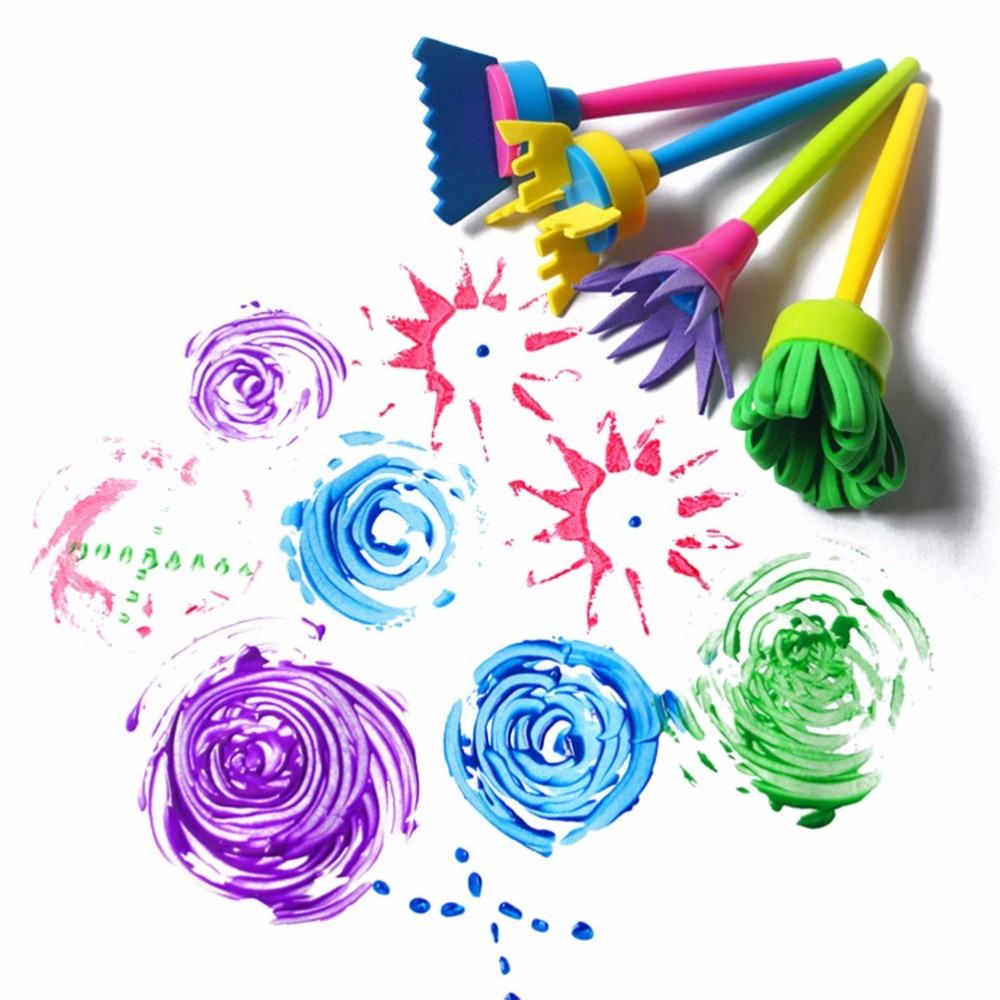 4 unids/set de esponja para grafiti de flores DIY, suministros de arte, pinceles, herramientas de sellado, divertidos juguetes de dibujo, divertido juguete creativo para niños