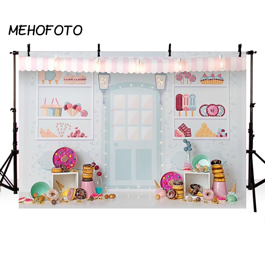 Candy Bar Ice Cream Parlor Celebration Background Baby 1st Birthday Donut Party Banner Photography Backdrop for Photo Booth