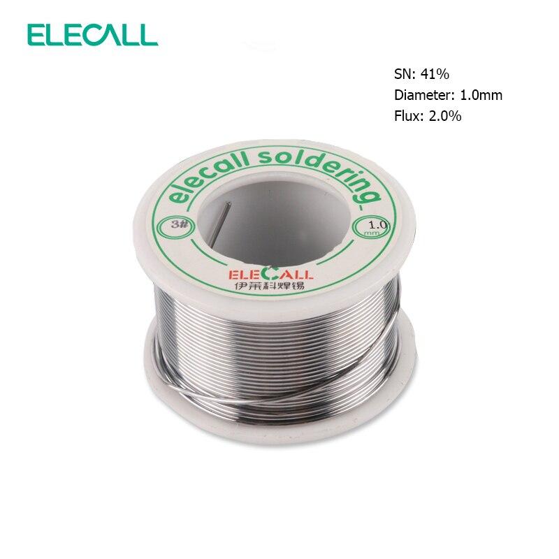 ELECALL, recién llegado, 41SN, puro Estaño, 1,0mm, 75g, núcleo de resina, estaño/rollo de resina de plomo, rollo de flujo, núcleo de fusión de plomo, alambre de soldadura de estaño