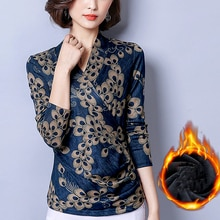 Blouses Womens V-Neck Long Sleeve Printing 2019 Vintage Winter Warm Blouse Shirts Women Plus Size Tops Plus Velvet Blusas Femme