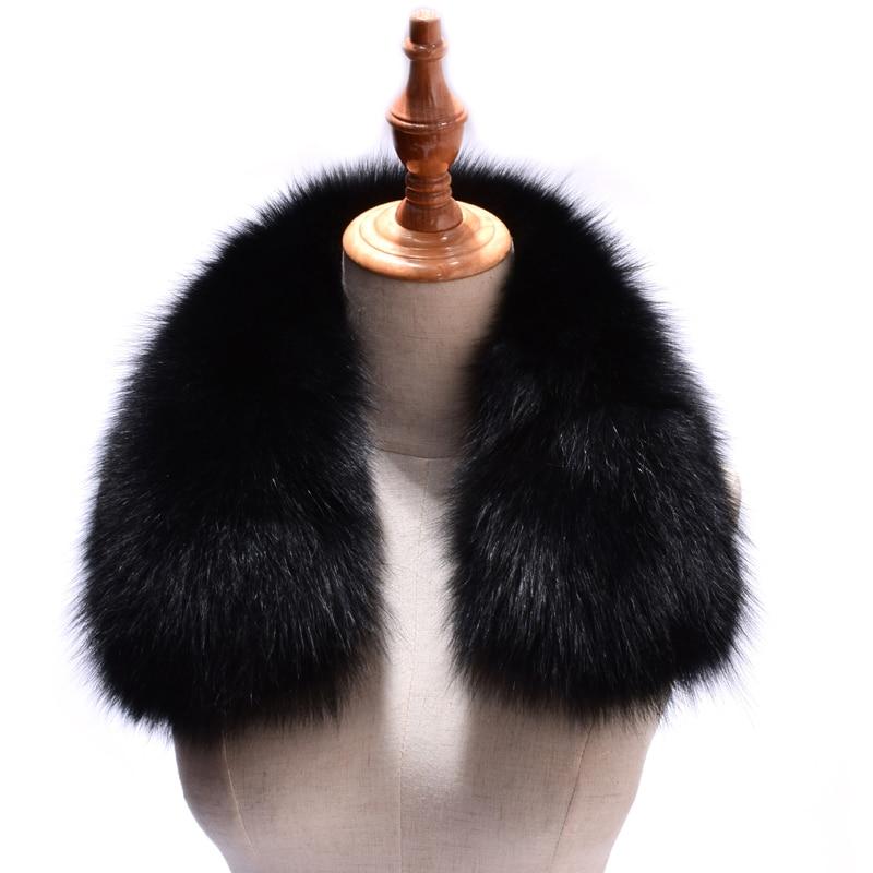 נשים אמיתי שועל פרווה קולרים מעיל מעיל מוצק שחור צבע צעיפי נקבה אופנה חם אמיתי שועל פרווה חורף צעיף