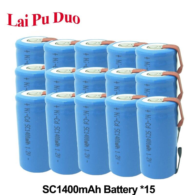 1.2 V 1400 mAh NI-CD batterie Rechargeable SC batterie Subc Batteria pour batterie externe SC accumulateur 15 Pack inclus