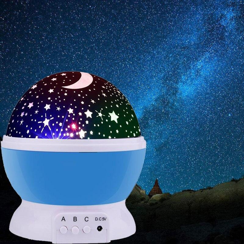 3w luz da noite led rotativo estrela projetor crianças bebê berçário novidade iluminação lua céu rotação bateria operado lâmpada de emergência