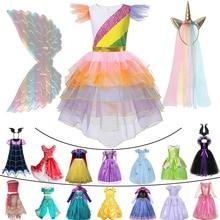 Collections princesse classiques pour filles   Robe Cosplay raiponce, la belle au bois dormant maléfique, costume de carnaval pour enfants, motif licorne clochette