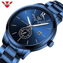 Relojes NIBOSI para hombre, reloj de cuarzo resistente al agua con cronógrafo de lujo, reloj azul para hombre a la moda, reloj Masculino con caja al por menor