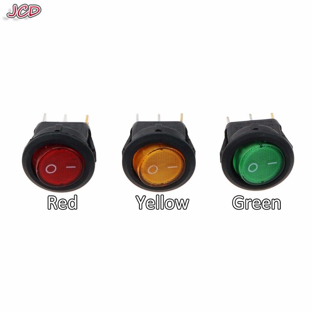 JCD Micro interruptor KCD1-2 LED luz coche barco redondo Rocker ON/OFF SPST 3 pines interruptor de botón de palanca 220V MAX 250V accesorios DIY