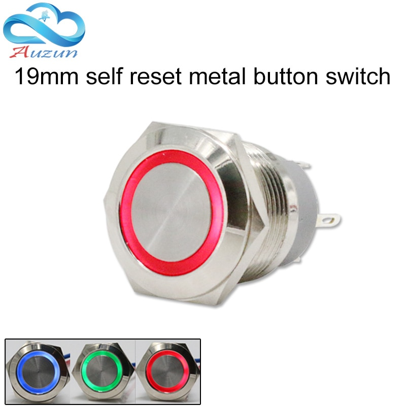 19mm metal button switch reset button switch instantly returns to copper nickel plating voltage 6 v12 v24V220V current 10A