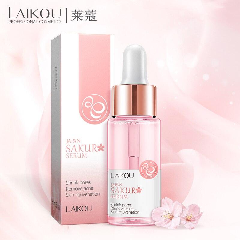 LAIKOU Sakura supprimer lacné liquide hydratant visage Essence visage sérum japon soins de la peau rétrécissement Pores éclaircir la peau sérum 15ML
